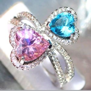 Double heart pink/blue 925 silver ring